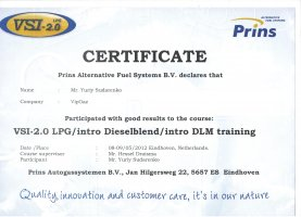 Сертификат Юрию Сидоренко от компании Prins