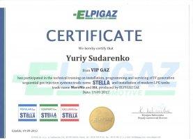 Сертифікат навчання Юрія Сидоренко від компанії Elpigaz
